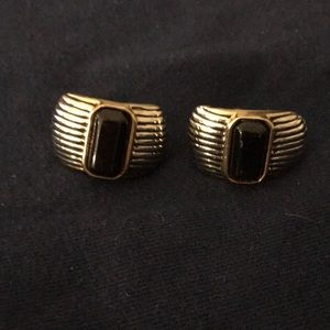 Vintage Silvertone Clip Earrings with accent stone